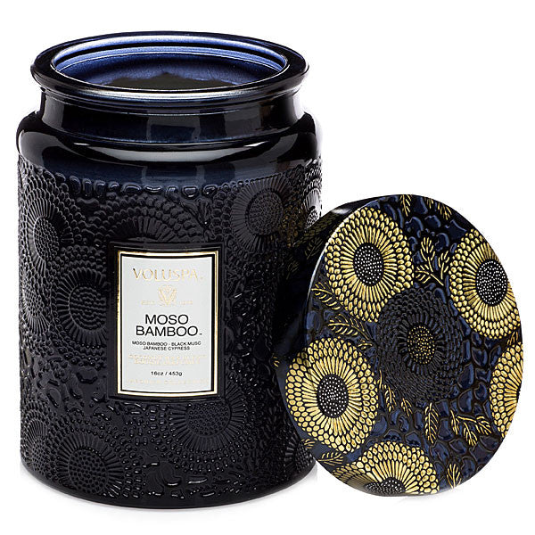 large embossed glass jar candle - moso bamboo || voluspa