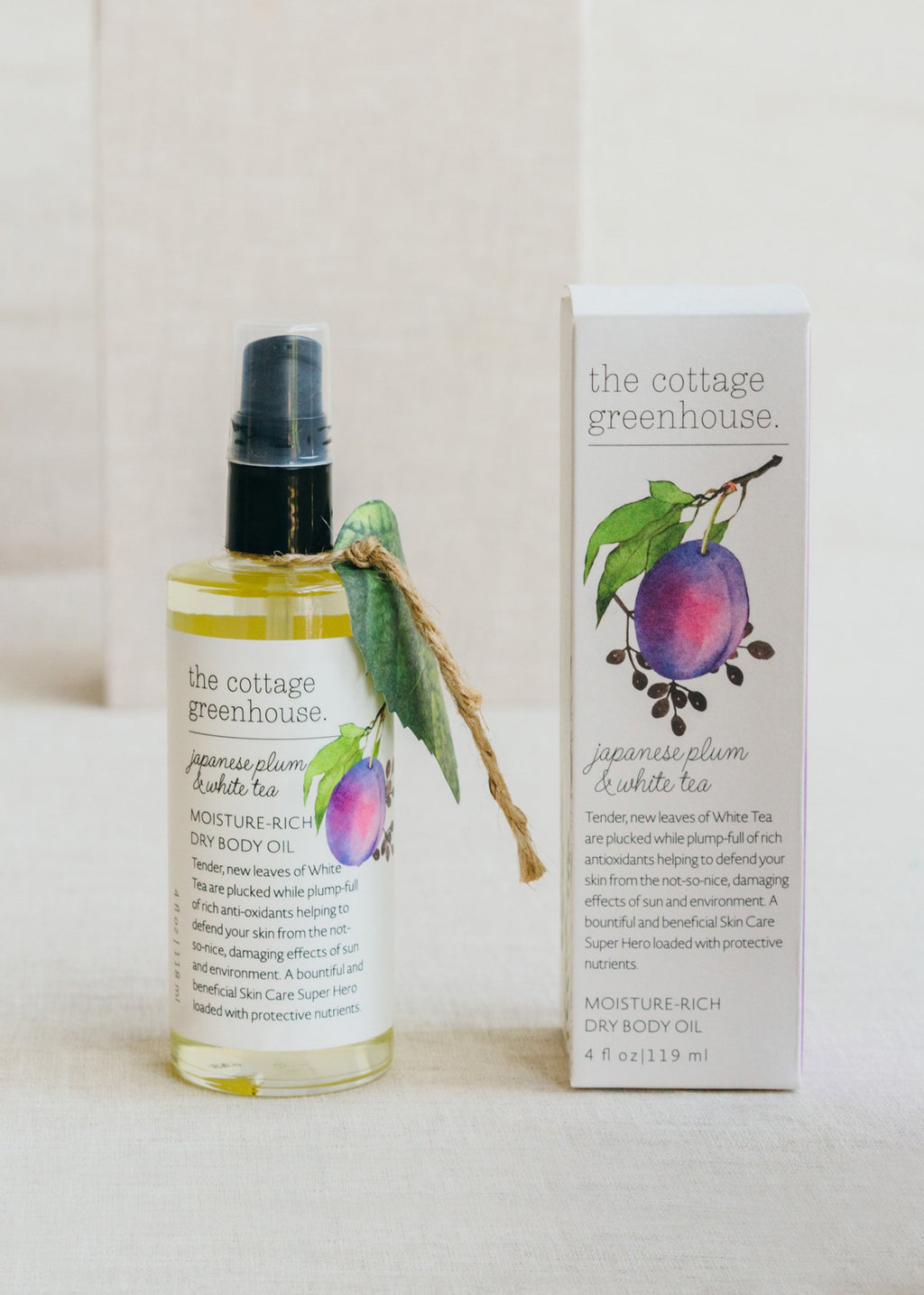 Japanese Plum & White Tea Dry Body Oil || Cottage Greenhouse