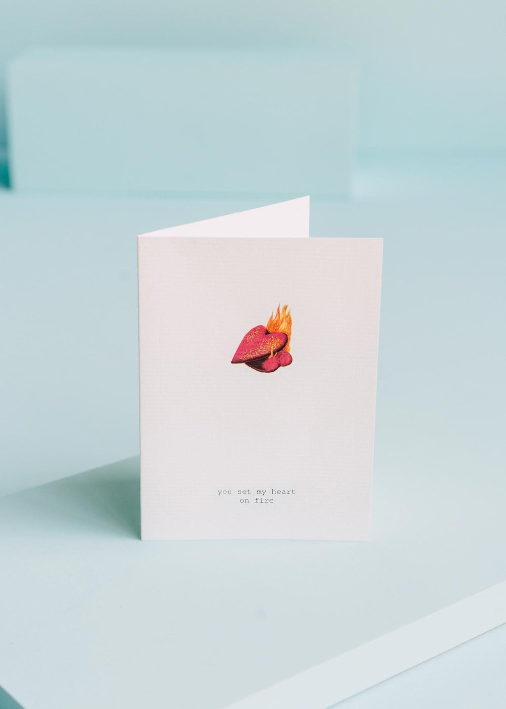 you set my heart on fire greeting card || tokyomilk