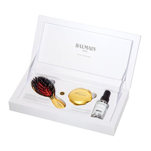 balmain hair couture mini golden spa brush set