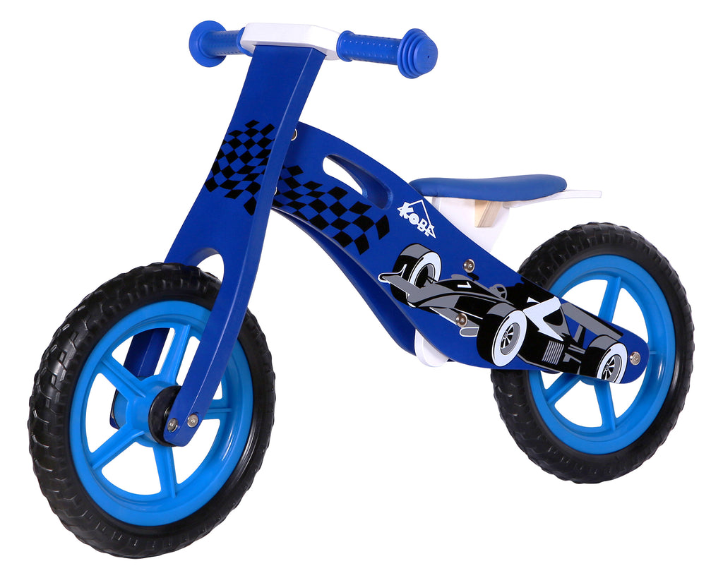 Kobe Wooden Balance Bike - Blue Car