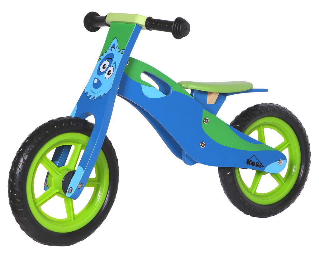 Kobe Wooden Balance Bike - Blue Doggy