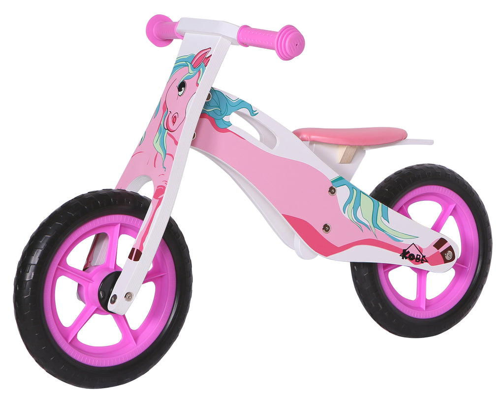 Kobe Wooden Balance Bike - Pink Pony