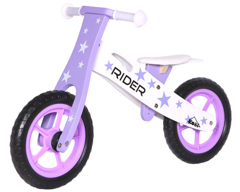 Kobe Wooden Balance Bike - Purple Stars