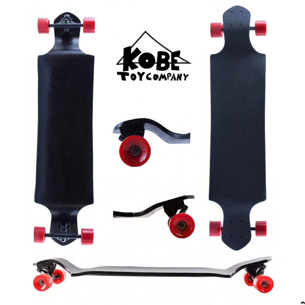 "41"" Longboard - 9 Ply Canadian Maple Skateboard - Drop Down - Black with Red or Green Wheels"