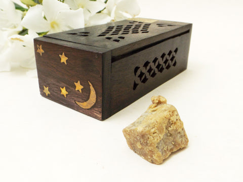Premium Dark Amber Resin Incense with Wood Gift Box