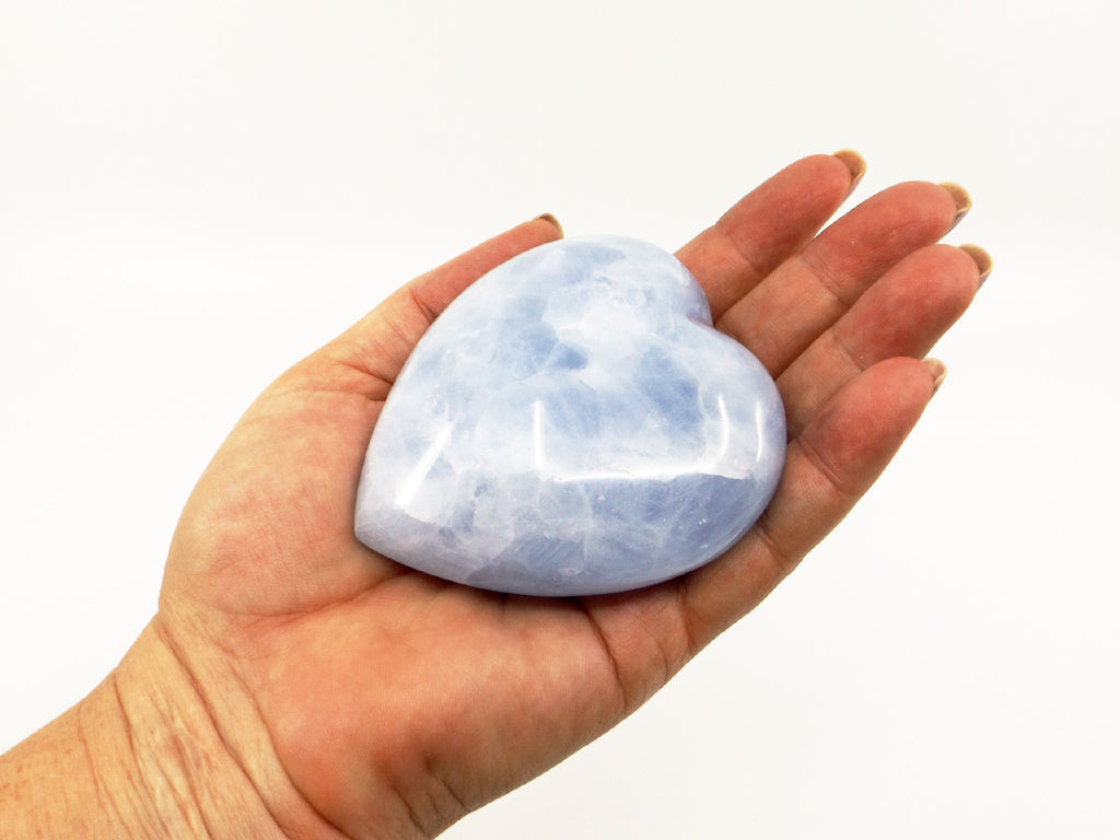 Blue Calcite puffy heart crystal - Esoteric Aroma
