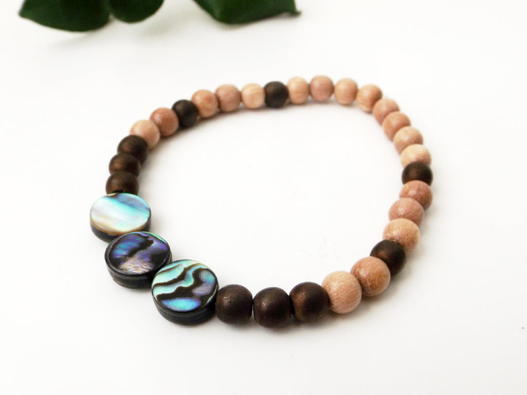 Abalone Shell and Copper Hematite gemstone bracelet - Esoteric Aroma