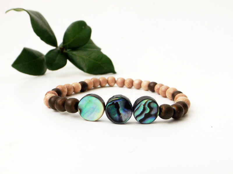 Abalone Shell and Copper Hematite gemstone bracelet