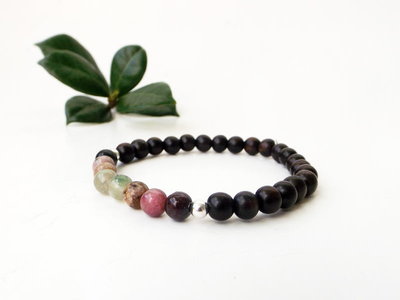 Watermelon Tourmaline gemstone bracelet