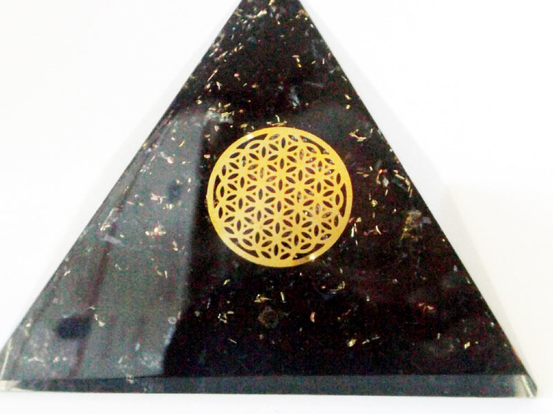Black Tourmaline Orgone Pyramid - Flower of Life - Esoteric Aroma