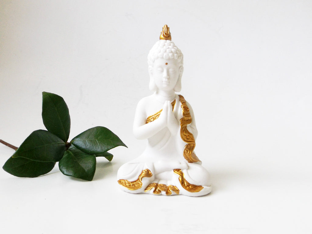 Ceramic Praying Buddha white - Esoteric Aroma