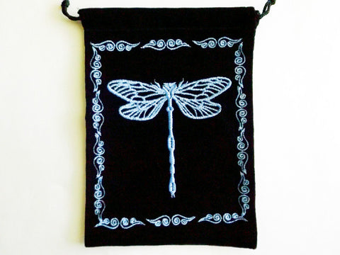 Velvet Pouch - Dragonfly Oracle Deck Pouch, Tarot card bag - Esoteric Aroma