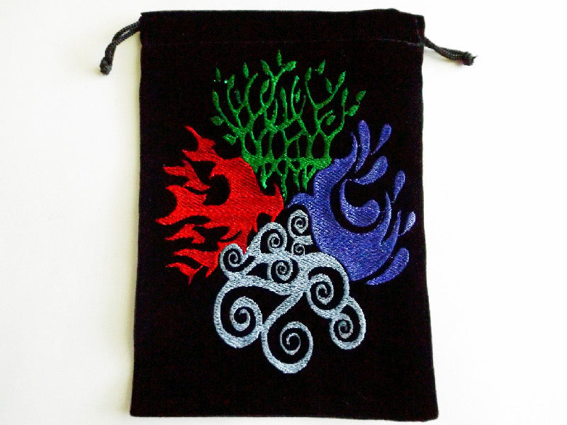 Unlined Velvet Bag Embroidered Four Elements - Esoteric Aroma