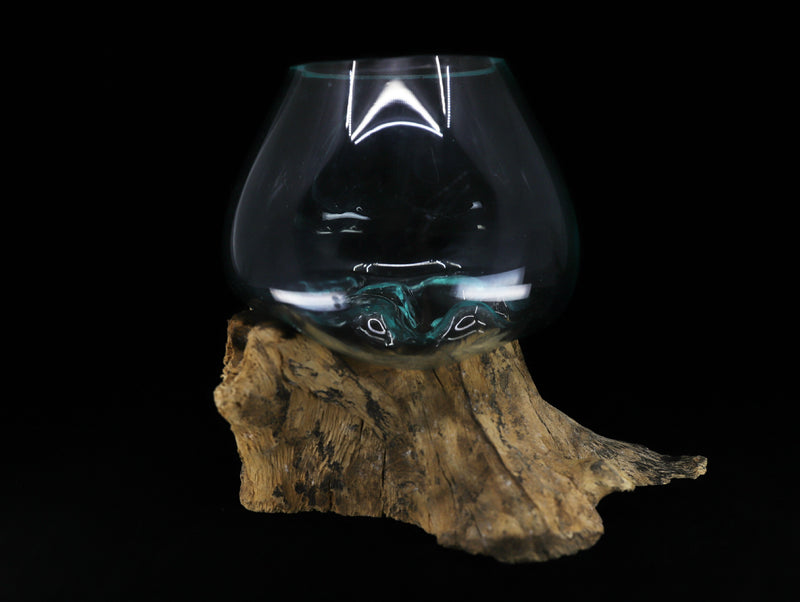 Glass bowl with Wood base - Esoteric Aroma