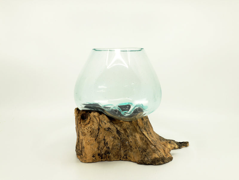 Blown Glass bowl with Wood base - Esoteric Aroma