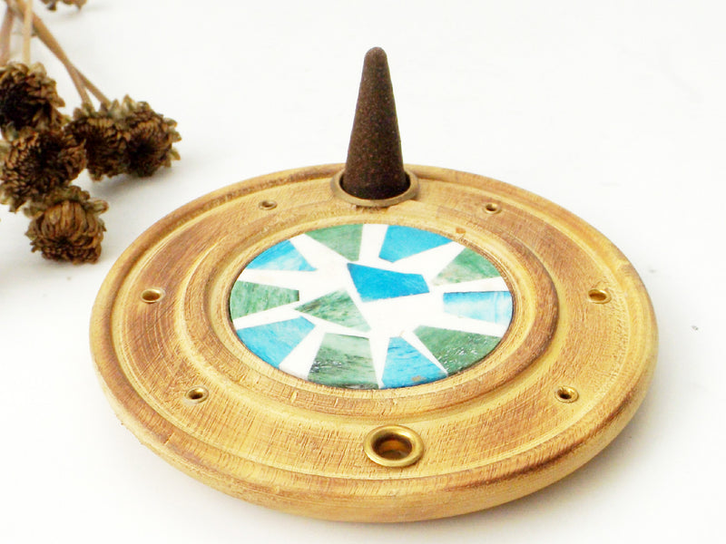 Mosaic Tile wood incense burner - Esoteric Aroma