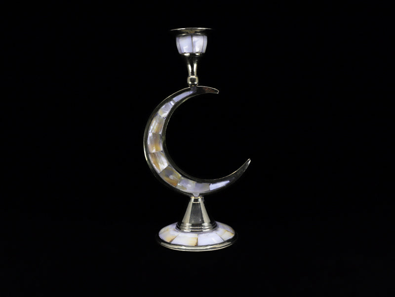 Brass crescent moon candle holder