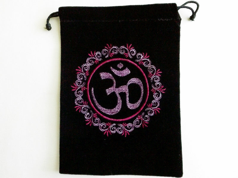 Unlined Velvet Bag Embroidered Om symbol - Esoteric Aroma