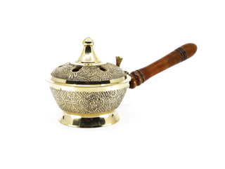 Brass Resin Burner with Wooden Handle