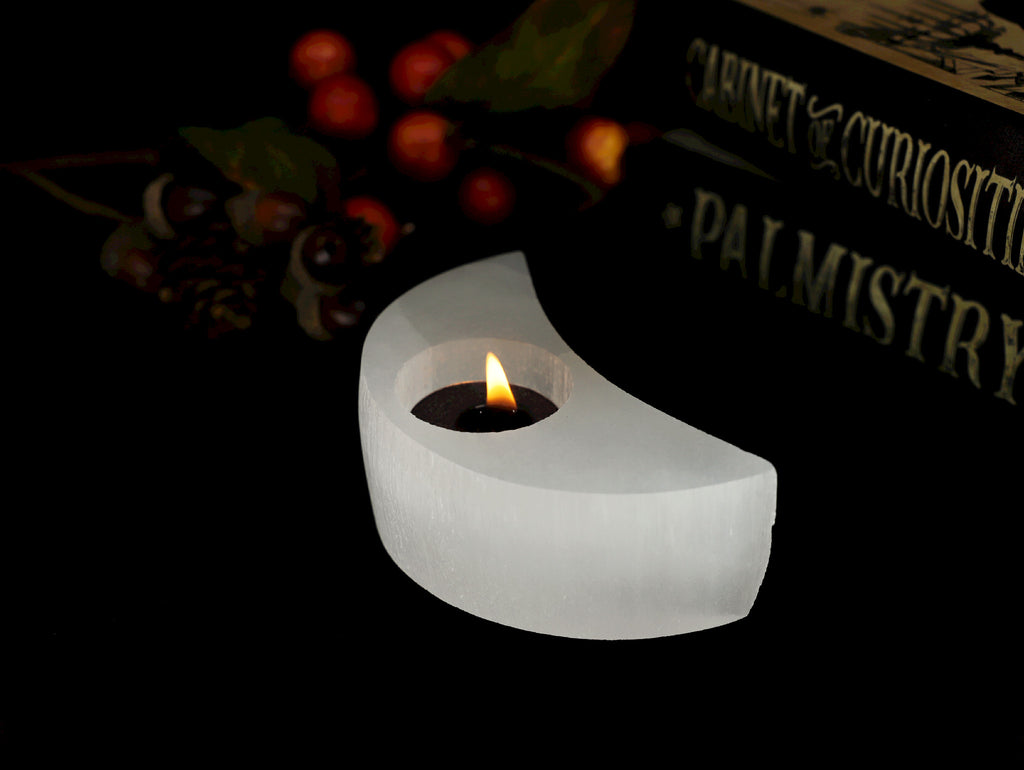 Selenite Crescent Moon tealight holder - Esoteric Aroma