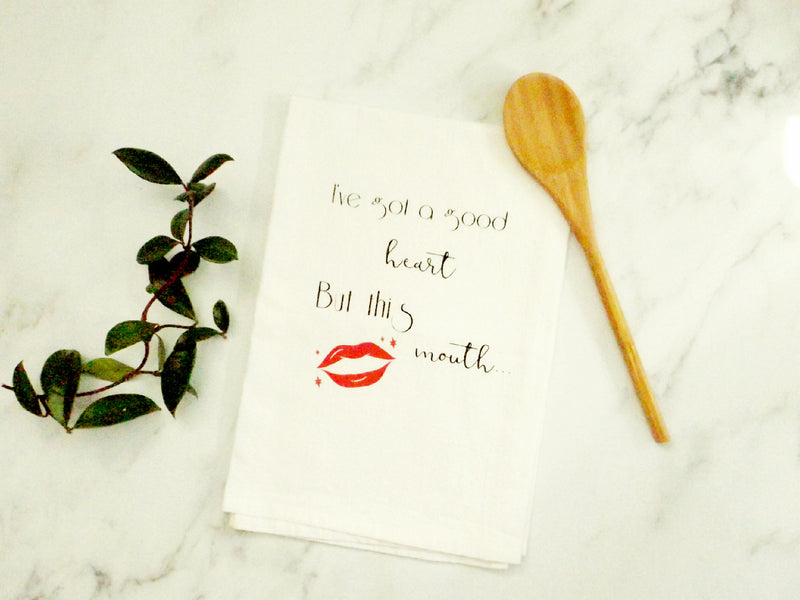 Good heart foul mouth kitchen towel - Esoteric Aroma