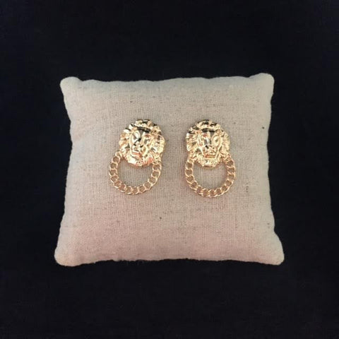 Gold Lion head earrings