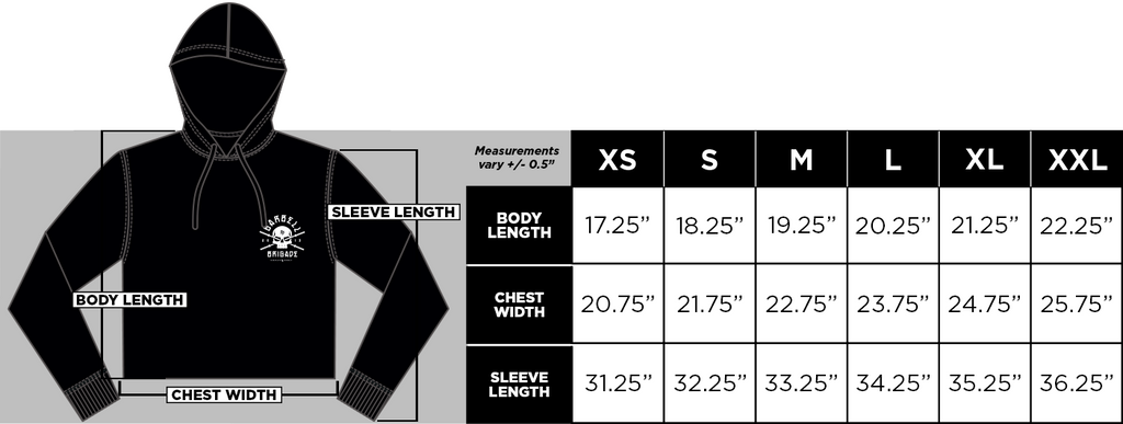 Cropped Hoodie Size Guide