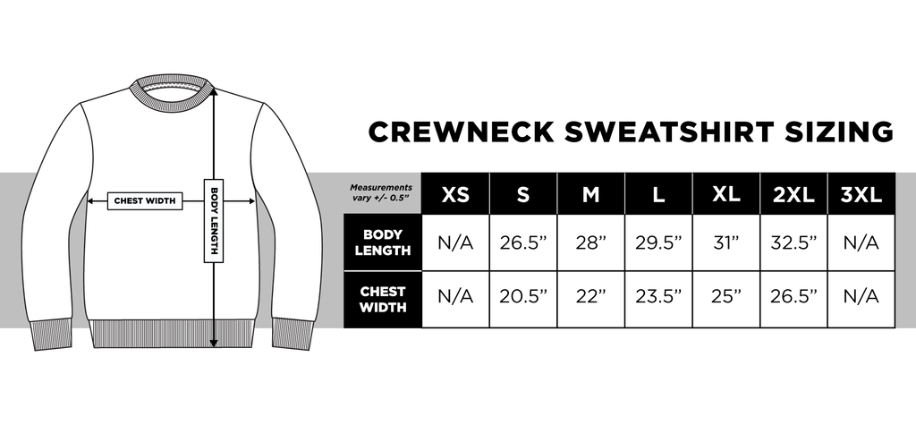 Crewneck Sweatshirt Sizing