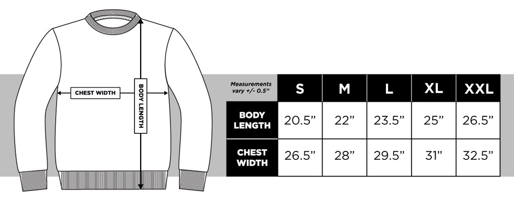 Dominate Holidays Sweater Size Guide