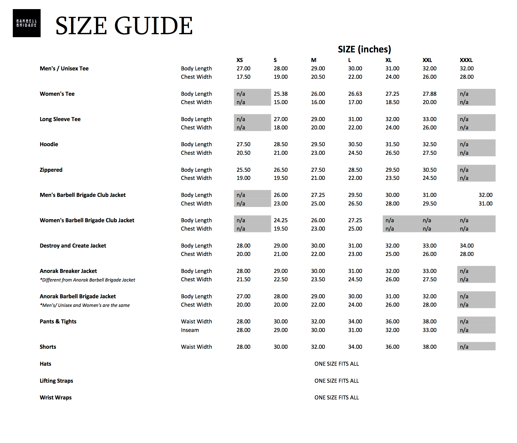 Overall Size Guide