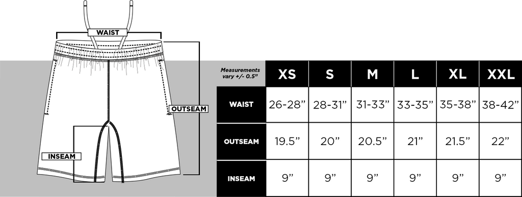 BB - Shorts Size Guide