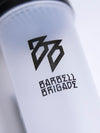 Close up of Barbell Brigade logo on Shaker bottle.