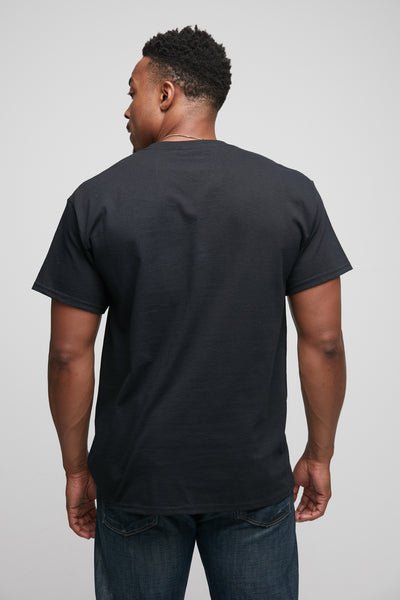 Hex Pocket Tee in black from back.