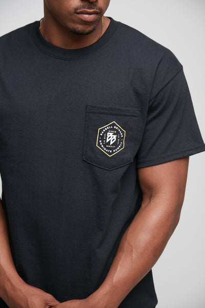 Hex Pocket Tee in black.