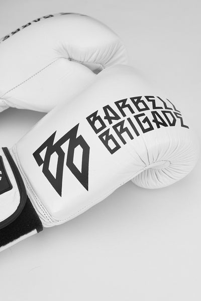 Closeup of logo on boxing glove.