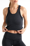 Lux - Scoop Neck Crop Tank (Titanium)