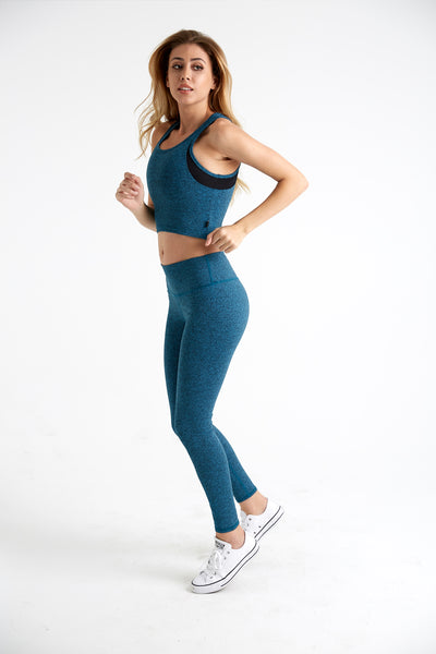 Lux Scoop Neck Crop Tank in teal from side.