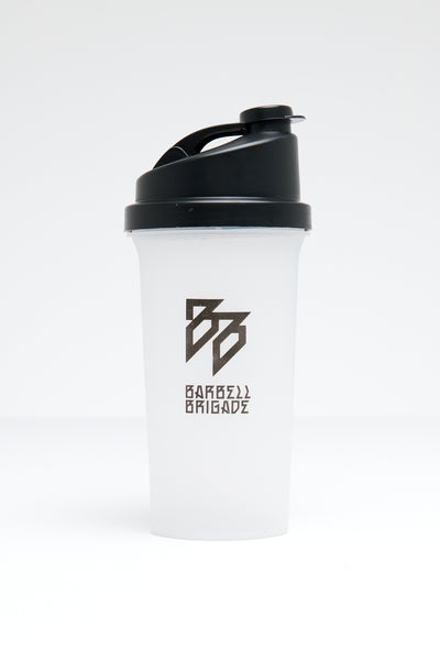 Pre-workout Shaker with black top and opaque bottle.