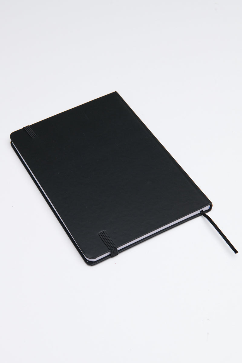 Black notepad with strap.