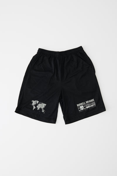 Coordinate Mesh Shorts in black.