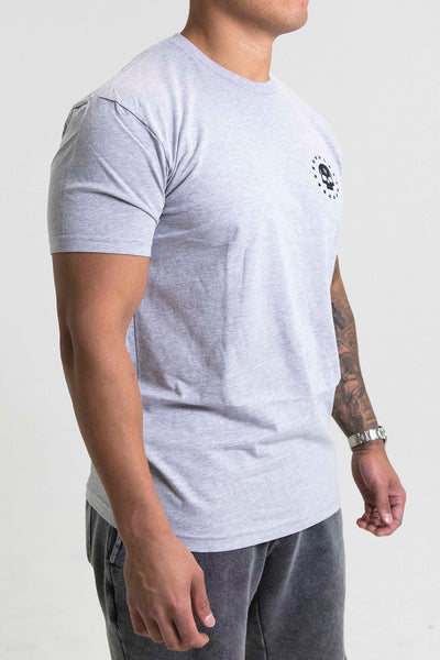 Veterans Tee Heather Grey from side.
