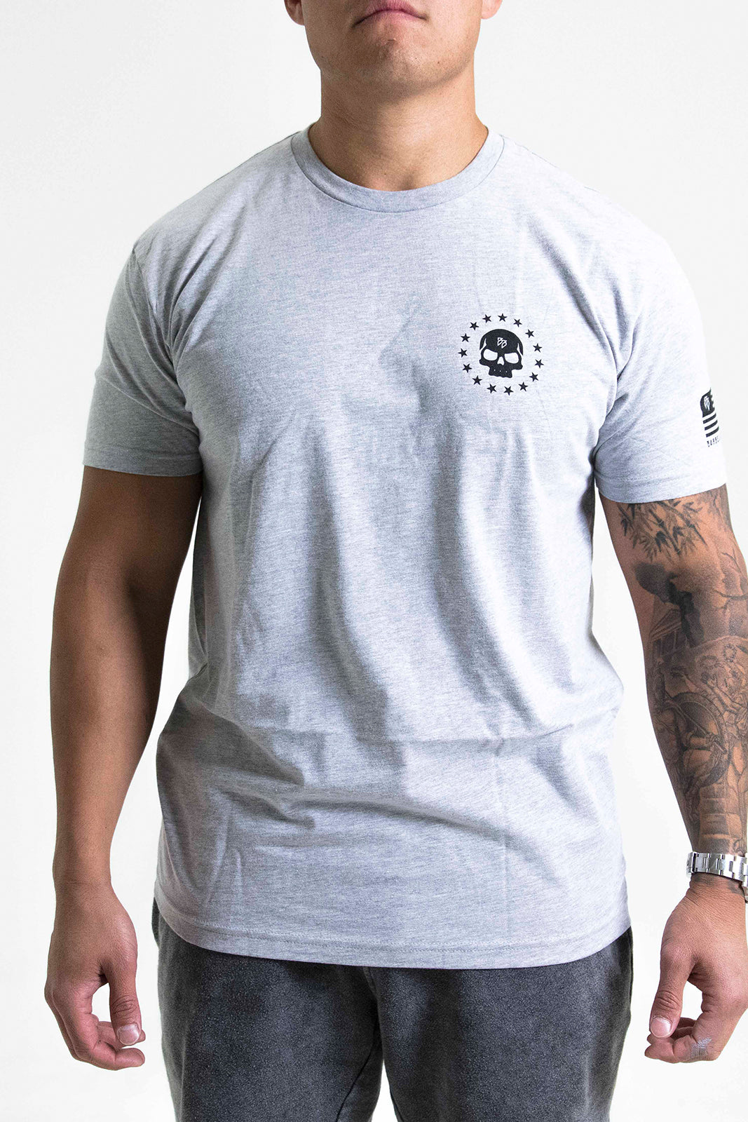 Veterans Tee Heather Grey.