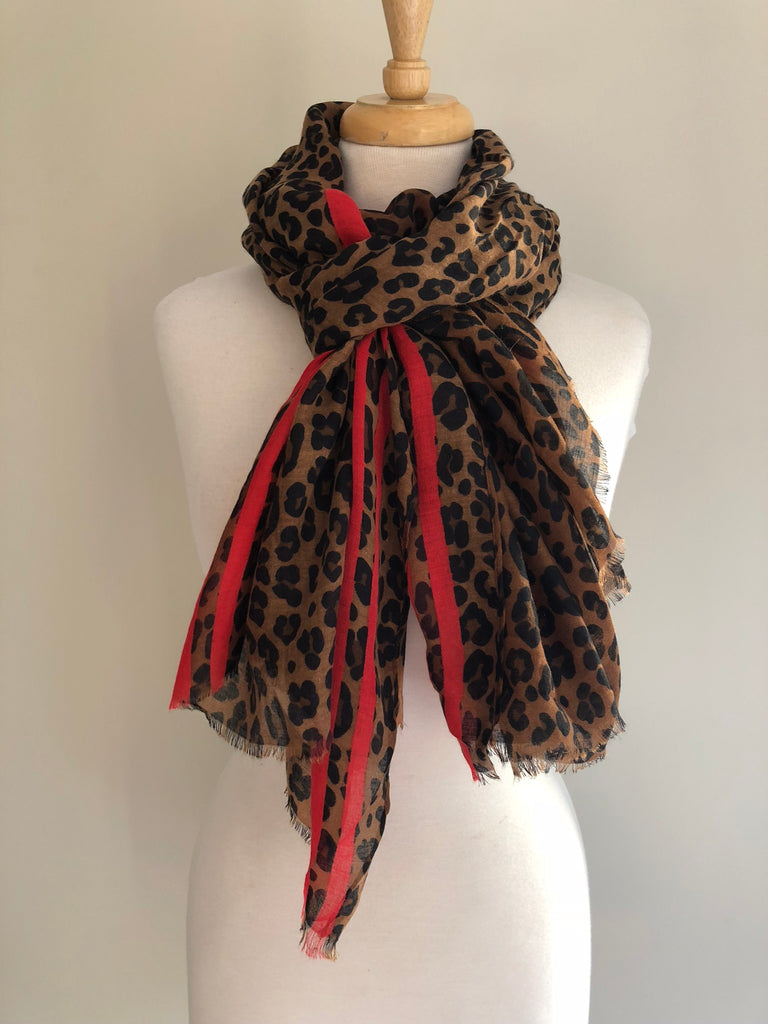 Animal Print Red Stripe Scarf