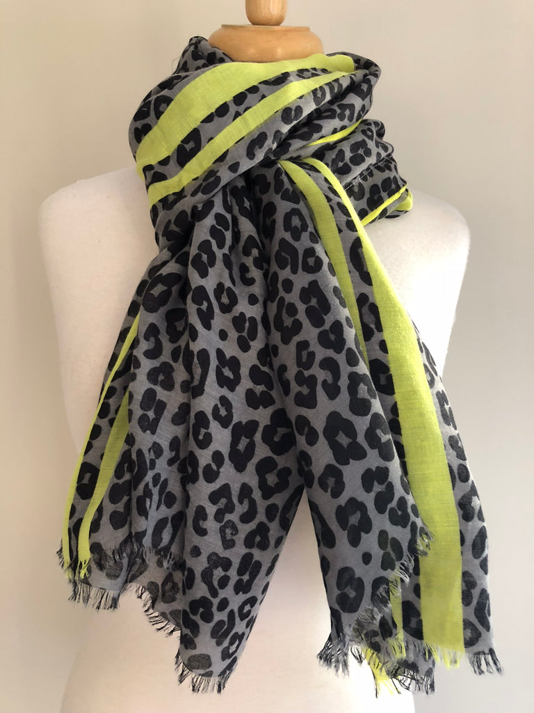 Animal Print Yellow Stripe Scarf