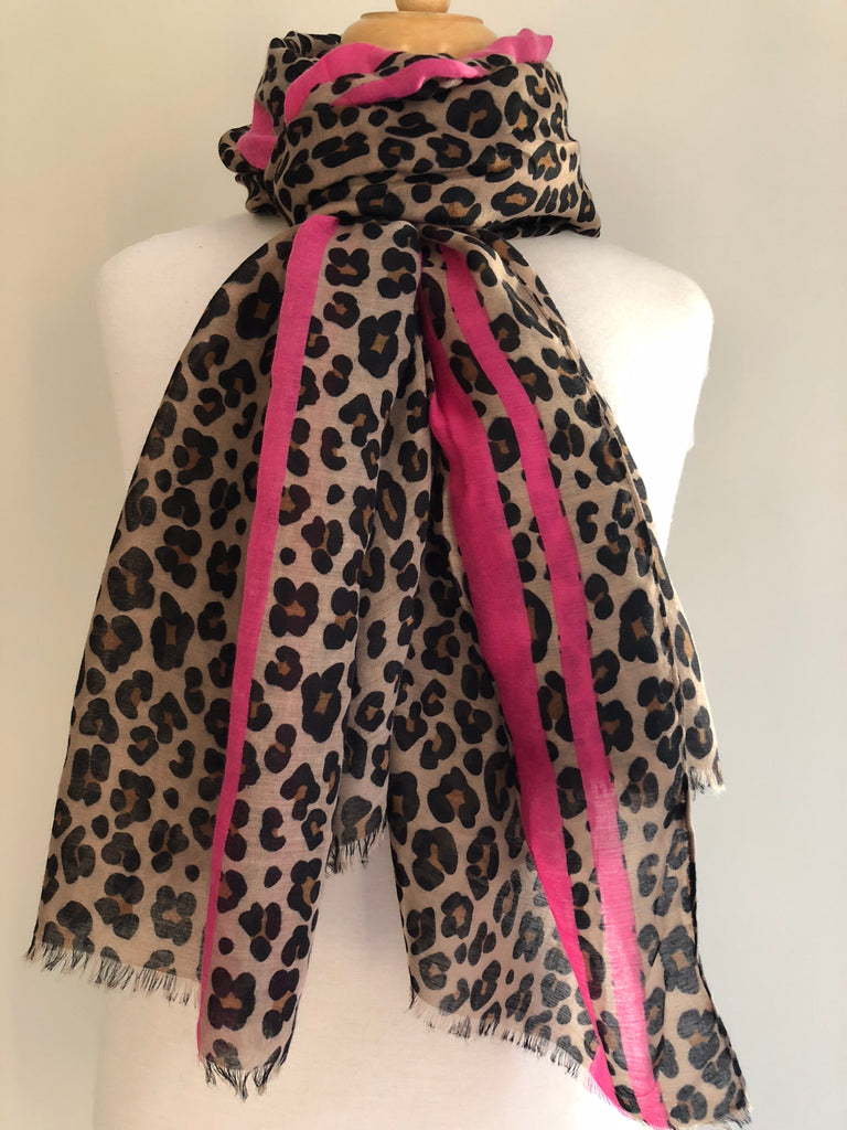 Animal Print Pink Stripe Scarf