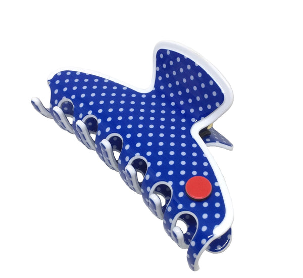 Barcelona medium claw - royal blue polka