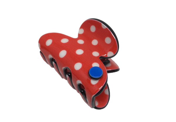 Barcelona mini claw - red polka