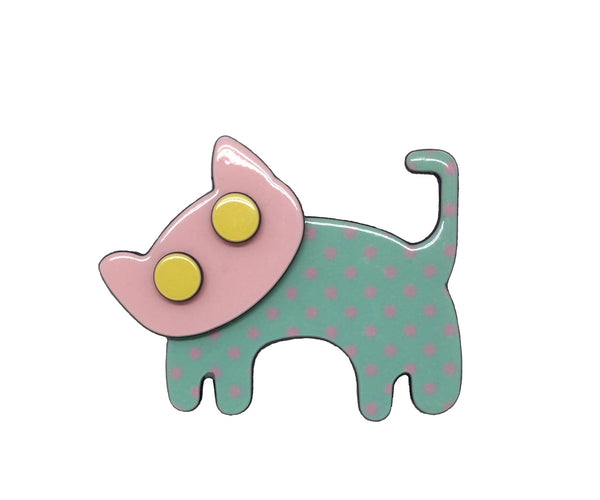 Happy cat - pale green polka