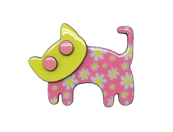 Happy cat  - pink floral